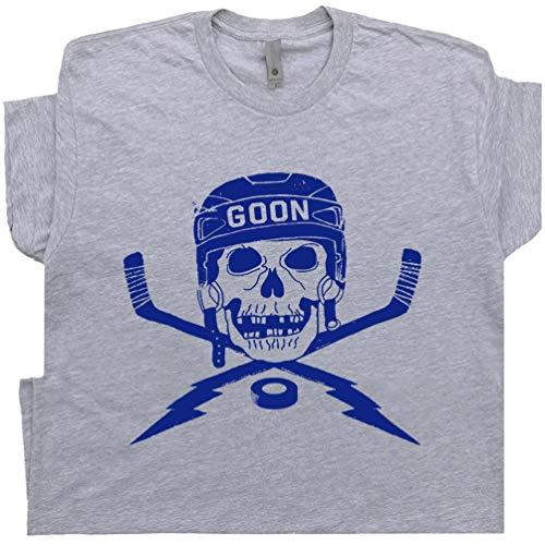 M - Hockey Goon T Shirt Vintage Hockey Gift for Player Mask Skull and Sticks Goalie 70s 80s Jersey Retro Throwback Tee ()