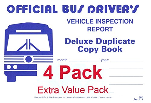 Bus Vehicles - J.J. Keller 902 (25B) Bus Driver's Vehicle Inspection Report 2-Ply w/Carbon - Extra Value Pack of 4
