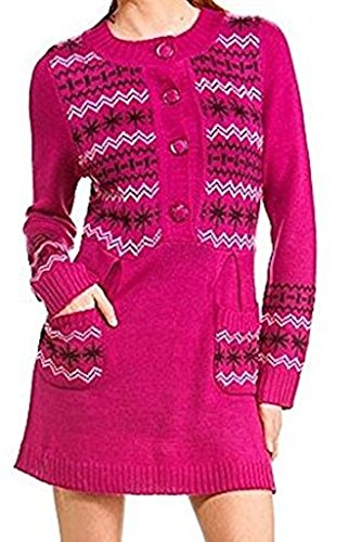 Star-Studded Fair Isle Snowflake Pocket Sweater Dress (s) Studded Pocket Dress