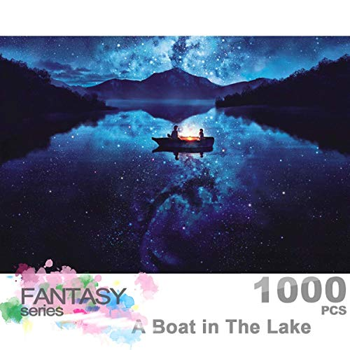 Ingooood- Jigsaw Puzzle 1000 Pieces- Fantasy Series- A Boat in The Lake_IG-0355 Entertainment Toys for Adult Special Graduation or Birthday Gift Home Decor