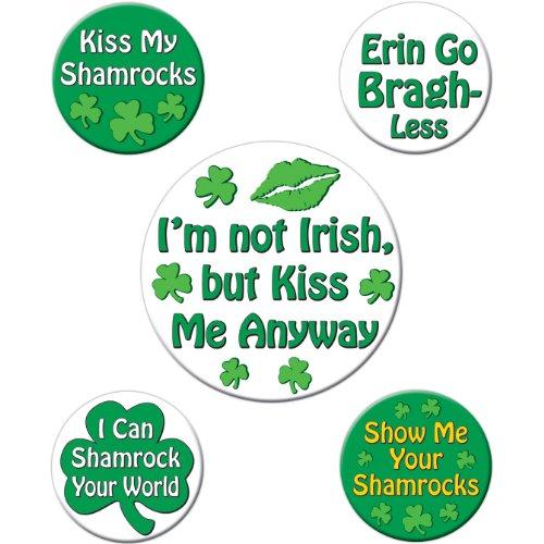 St Patrick's Humorous Saying Party Buttons (asstd designs) (5/Pkg) -