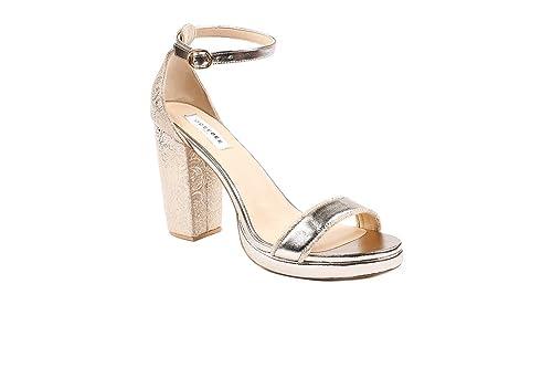Oceedee Women Maya Cream Gold Soft Leather 3 5 Inch Block 0 5 Inch Platform Heel Sandals Buy Online At Low Prices In India Amazon In