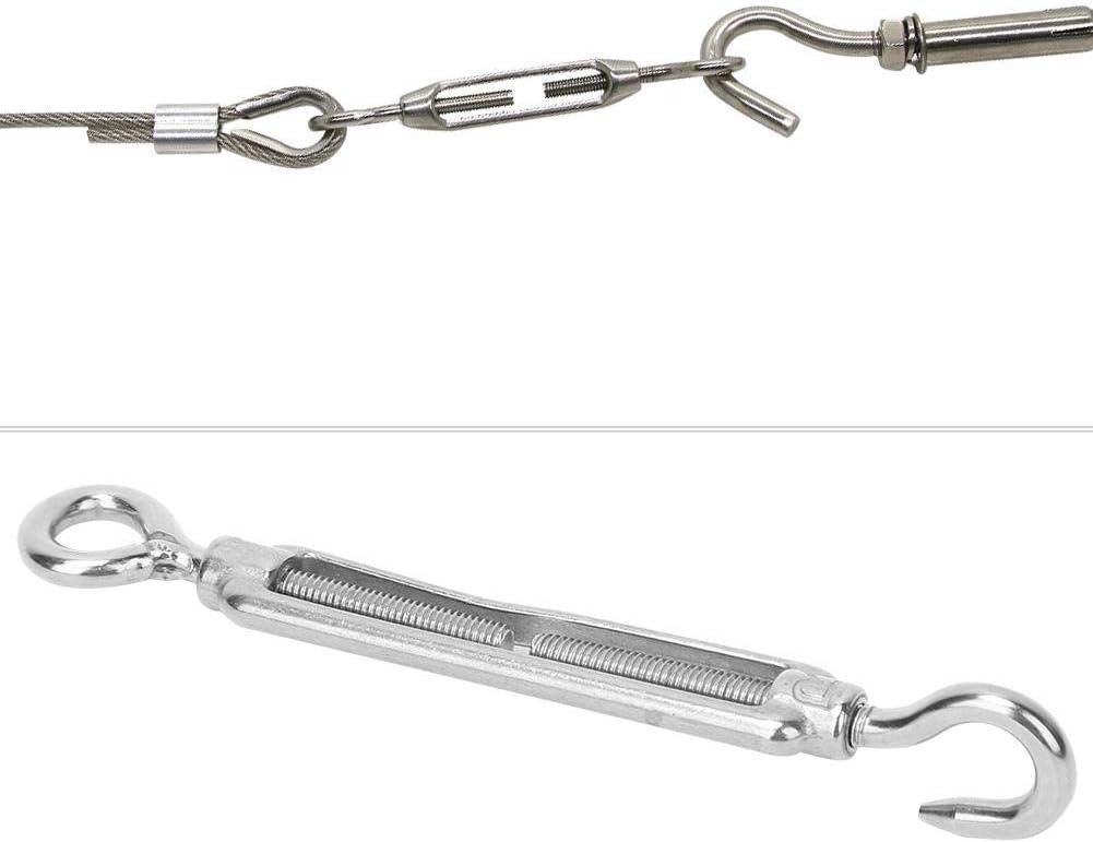 Alomejor 5Pcs Eye Turnbuckle Wire Tensioner 304 Stainless Steel M4 M5 M6 M8 M10 Eye Eye Turnbuckle Hook for Rope Adjust