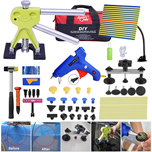 Fly5D 44pcs Auto Car Body Paintless Dent Repair Removal Tools Kit Dent Lifter Pop Out a Dent Bridge Puller Set for Car Dent Hail Damage Door Dings -