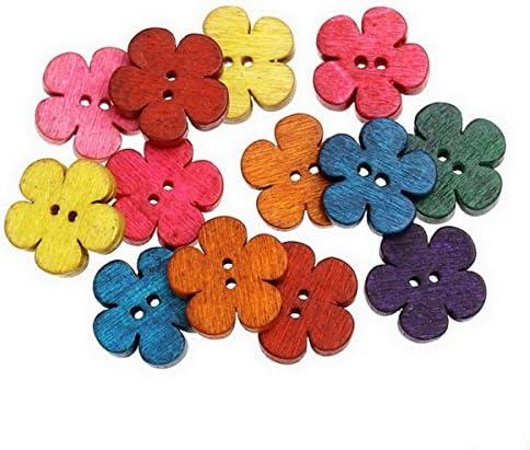 HOUSWEETY ミックス 可愛い お花型 ウッドボタン 木製ぼたん 縫製 手芸材料 手作り アクセサリーパーツ 19x18mm 50個入り