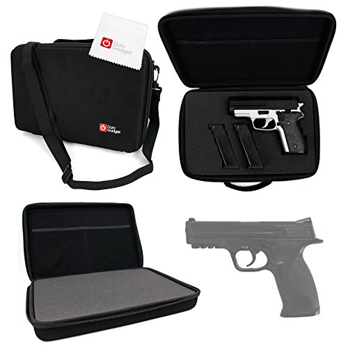 DURAGADGET Smith & Wesson M&P Airgun (Medium) Storage Case - Tough Black Armoured EVA 'Shell' Gun Case with Fully-Customizable & Shock-Absorbing D.I.Y Foam Interior for S&W M&P Medium Airgun & - Carrying Wesson And Case Smith