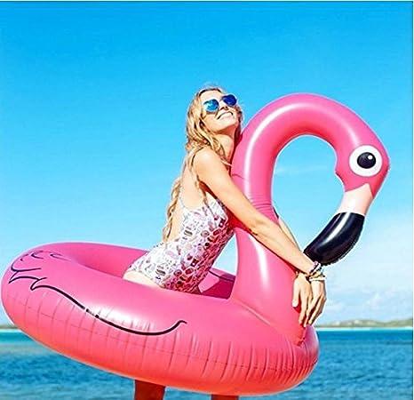 PZJ® Flamenco hinchable colchonetas Piscina, Flotador Piscina Para Adultos de 120cm, Piscina o