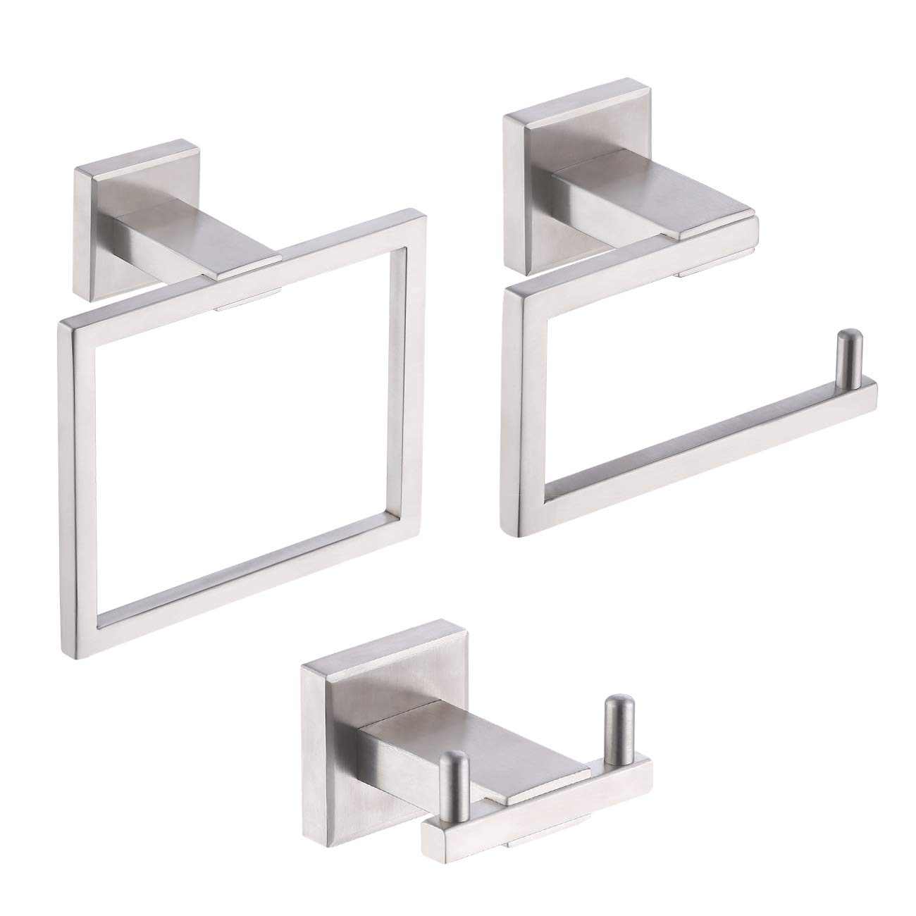 Kes Bathroom Accessories Toilet Paper Holder Double Robe Towel Hook Towel Ring Contemporary SUS304 Stainless Steel Rustproof 3-Piece Wall Mount, Brushed Finish, LA242-31