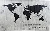 WHITE WORLD MAP RUSTIC BARN WOOD PALLET SIGN – THE BEST JOURNEYS LEAD YOU HOME 42x26x2″ Handmade rustic wall decor inspirational quote will look beautiful Add pushpins to show where you've been/going Review