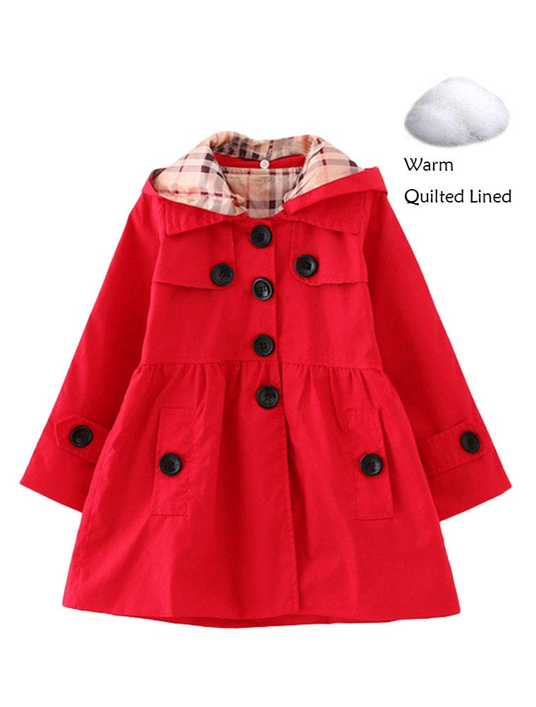 Mallimoda Girl's Hooded Trench Coat Jacket Dress Windbreaker Outwear Red-Warm Quilted Lined 2-3 Years