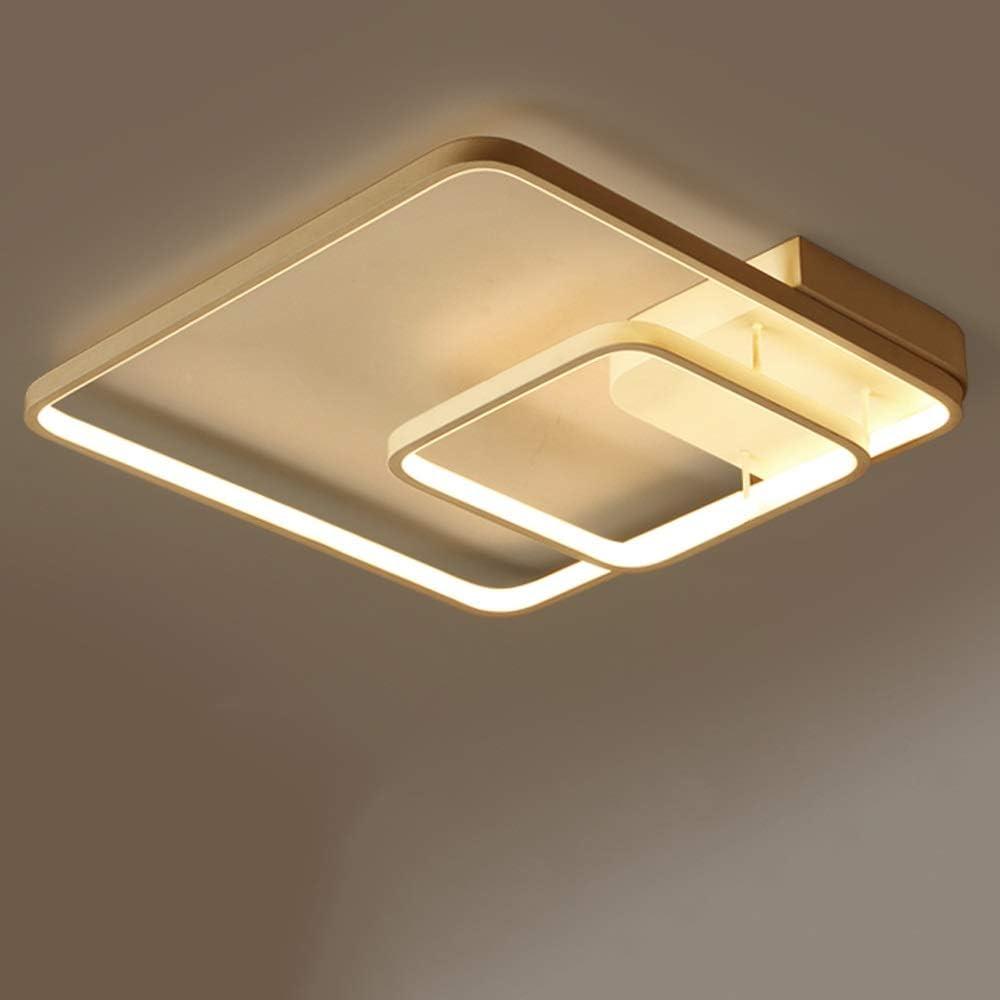 Aiqiyi Ménage Chaud Plafonnier LED Plafonnier Salon Lampe Simple Moderne Carré Forme Atmosphère Maison Noir Chambre Lampe Chambre Lampe Maison Chaud Romantique Trois Couleurs Gradation