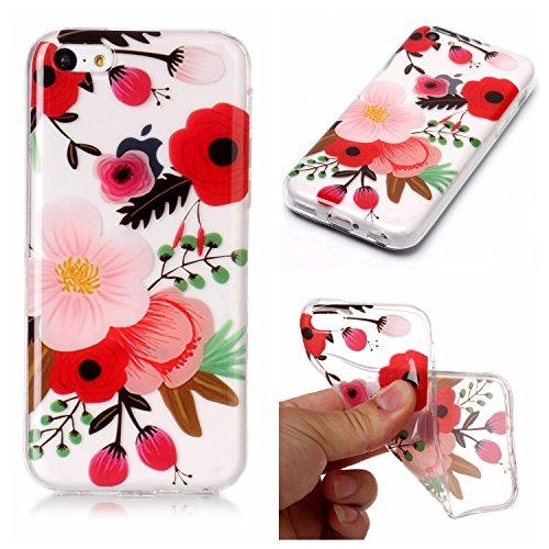 Custodia iPhone 5C , LH Pittura Ad Olio Fiore TPU Trasparente Silicone Cristallo Morbido Case Cover Custodie per Apple iPhone 5C