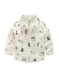 Fairy Baby Toddler Boys Long Sleeve Outfits Cartoon Cars Print Cotton Shirt Buttons Down size 1-2 years (white)