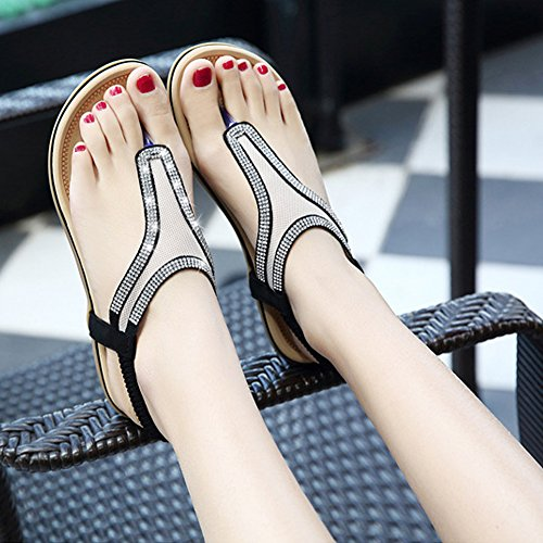 Peep Filles Chaussures Femmes strass Style Été Sandales Minetom Fil Toe Noir Bohémien Des Plat Tongs Talon Chaussons O5wUnqB
