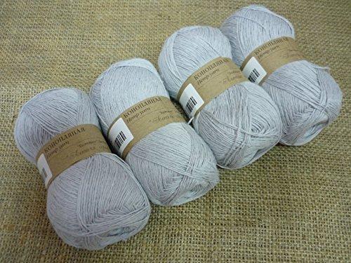30% Hemp Yarn 70% Cotton Yarn Thread Crochet Lace Hand Knitting Yarn Craft Art Embroidery Lot of 4 skeins 200gr 1224yds Color Light Gray 59