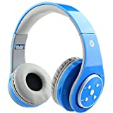 Mokata Kids Headphone Bluetooth Wireless Over Ear Foldable Headset with AUX 3.5mm Jack Cord SD Card Slot , Built-in Mic Microphone For Boys Girls Cell Phones TV PC Game Equipment B06 Blue