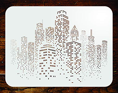 Skyscraper Stencil - 18.5 x 14 inch (M) - Reusable Cityscape Skyline City Buildings Wall Stencils for Painting - Use on Paper Projects Scrapbook Journal Walls Floor Fabric Furniture Glass Wood etc.