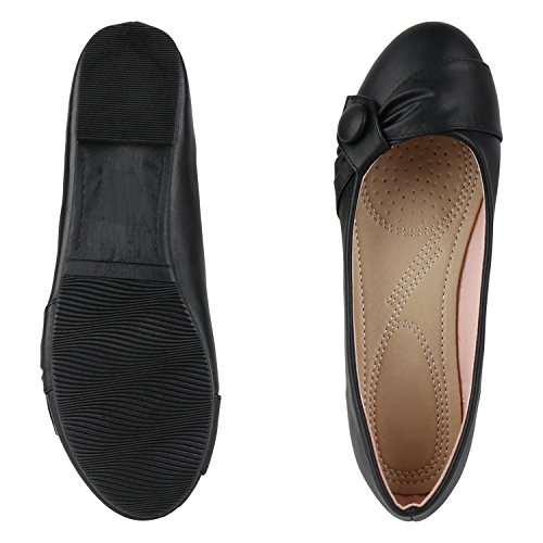 napoli-fashion Klassische Damen Ballerinas Übergrößen Leder-Optik Flats Strass Schuhe Elegante Abendschuhe Slippers Partyschuhe Jennika Schwarz Knopf