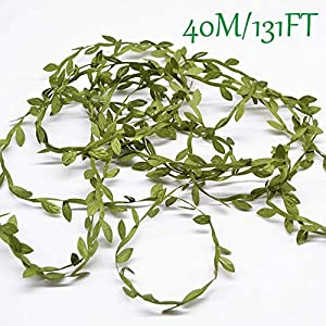 Artificial Vines, 131Ft Artificial Plants Leaves Decor Garland Fake Hanging Silk Ivy Garlands Green Leaves Foliage Flowers Ribbon Wreath for Wedding Party Wall Crafts Party Indoor Outdoor DIY Decor 2