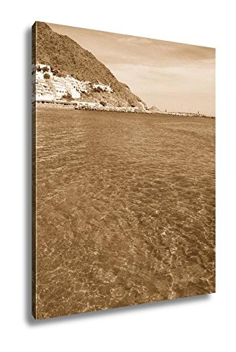 Ashley Canvas Almeria Cabo Gata San Jose Beach Village Spain, Wall Art Home Decor, Ready to Hang, Sepia, 20x16, AG5652067 by Ashley Canvas
