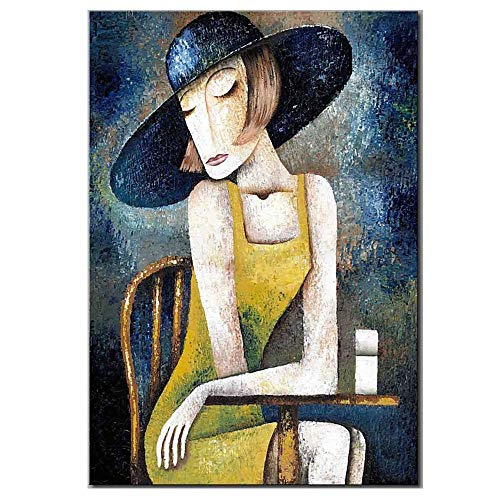 Hand Painted Oil Painting, Hand Made Abstract Figure Oil Painting On Canvas, Modern Home Decoration Mural Art Living Room Background Wall Hanging (No Frame),C,50×70Cm
