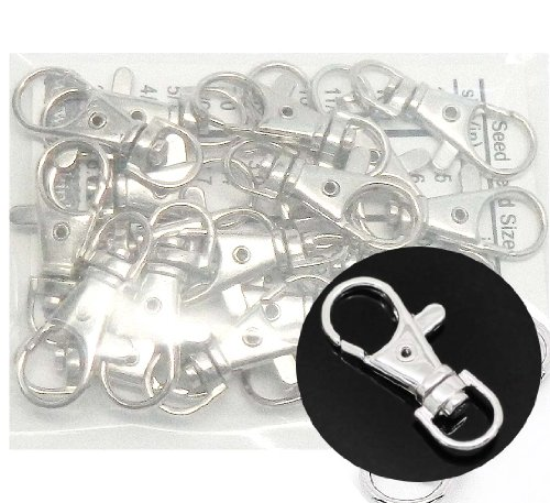 Rockin Beads Brand, 20 Shiny Silver Plated Lobster Claw Swivel Clasps for Key Ring 1 3/8 X 1/2 Inch