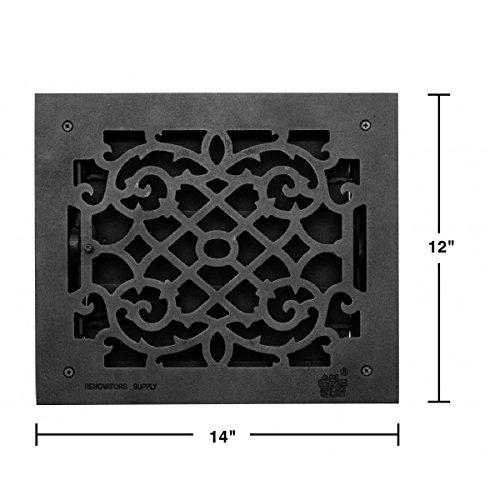 Register Black Aluminum Heat Register Cast Aluminum W/Logo RSF Black by Renovator's Supply (Image #2)