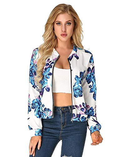 Lunga Battercake Tempo Moda Outwear Zip Eleganti Leggero Autunno Giubbino Jacket Manica Donna Casuale Primaverile Outdoor Blau Stampate Libero Sportivo Donne 8rxw486q