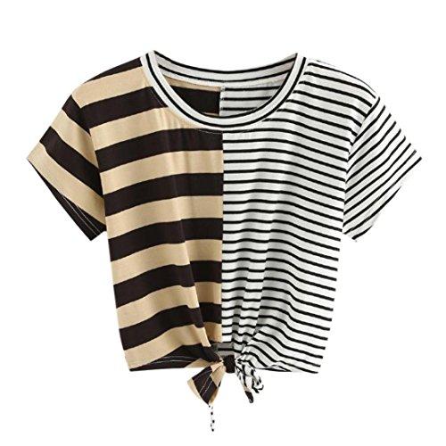 - vermers Womens Fashion Short Sleeve O-Neck Stripe Tee Bow Bandage Blouse Tops T-Shirt (S, Black)