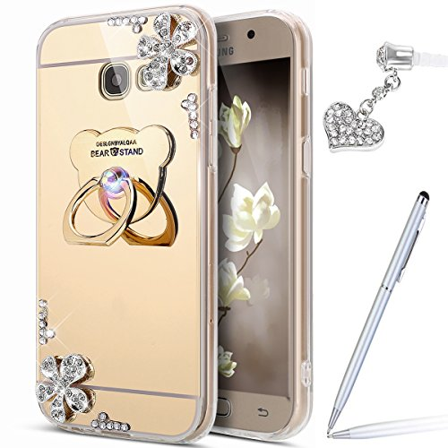 Galaxy J7 Prime Case,Galaxy J7 Prime Mirror Case,ikasus Inlaid diamond Flowers Rhinestone Glitter Bling Mirror Back TPU Case & Bear Ring Stand Holder +Touch Pen Dust Plug for Galaxy J7 Prime,Gold