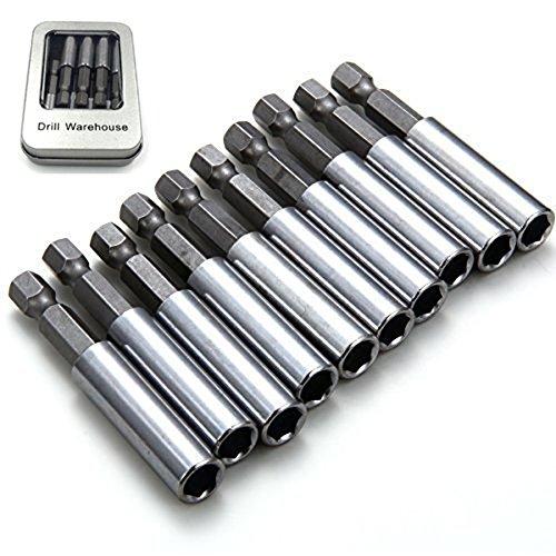 Bit Holder Socket (Drill Warehouse 10 Pack Magnetic Extension Socket Drill Bit Holder 1/4