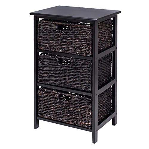 Giantex Wooden End Accent Storage Table Home Office Furniture Decor W/3 Storage Baskets (3 Baskets)