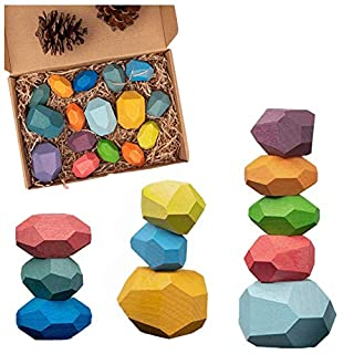 Julvie Lightweight Wooden Balancing Blocks Colorful Wooden Stones Toy Creative Color Building Block Toys Children Educational Toys