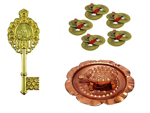 Odishabazaar feng shui set of 15 lucky coins + copper tortoise in plate + kuber kunji for wealth, health and achievement + Free Rudraksha Bracelet Combo of 4