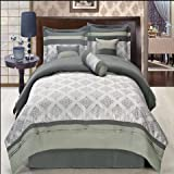 Egyptian Bedding Luxurious KING Size 7 Piece Thomasville Gray Comforter Set with Comforter, Bed Skirt, Pillow Shams, Cushion, Breakfast Pillow, Neck Roll, Color Style Shades of Gray