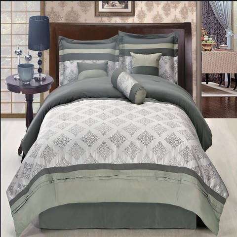 Fitted Thomasville Sheet (Luxurious QUEEN Size 11 Piece Thomasville Gray Comforter Set with Comforter, Bed Skirt, Pillow Shams, Cushion, Breakfast Pillow, Neck Roll & BONUS 100% Microfiber Bed Sheet Set, Color Style Shades of Gray)
