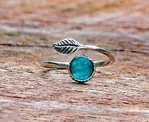Recycled Vintage Mason Jar Sterling Silver Leaf Ring