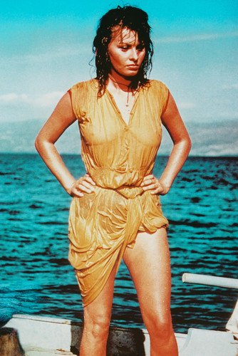 Sophia Loren in Boy on a Dolphin 24x36 Poster wet clothes on yacht ()