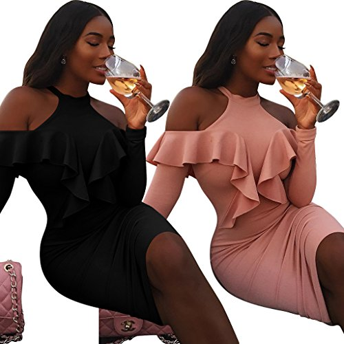 VENAS Womens Sexy Long Sleeve Off Shoulder Ruffle Bodycon Clubwear Halter Neck Cocktail Party Mermaid Midi Dress (L, Black) (Ruffle Halter Cocktail Dress)