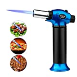 Butane Torch Lighter Culinary Torch Mini Blow Torch Lighter Refillable with Safety Lock for Creme Brulee Baking Cooking Soldering (Blue)