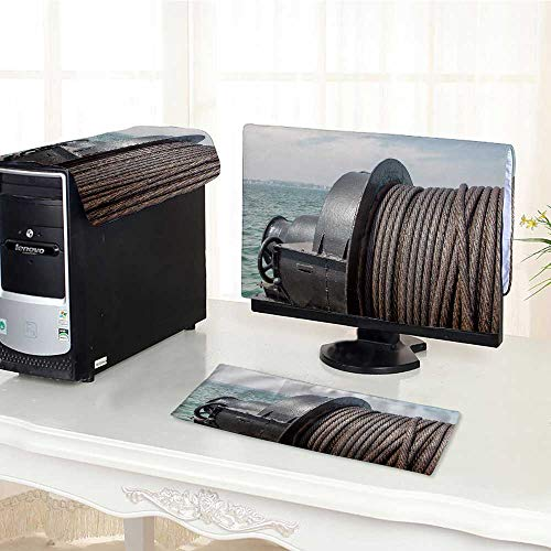(UHOO2018 Computer Cover 3 Pieces Metal Cable Oiled Marine Winch Ship Background of The sea Steel Rope in The sea Antistatic, Water Resistant /32