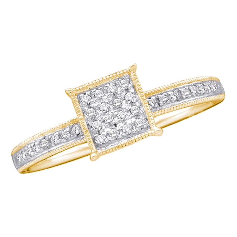 0.10ctw Princess Shape Round Micro-Pave Diamond Engagement Ring