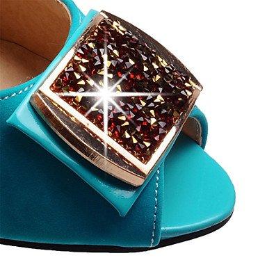 Zapatos del Oficina Noche Tacón Terciopelo LvYuan Vestido y Mujer fuchsia club Trabajo Robusto Azul Sandalias y Fiesta Negro wBqIBtO0x