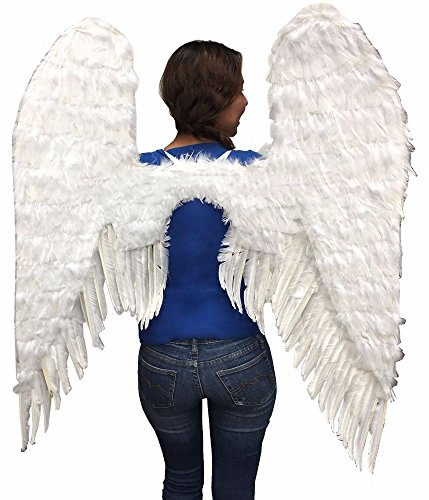 White ANGELIC FEATHER WINGS COSPLAY COSTUME PARTY ACCESSORY ADULT -