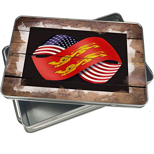 NEONBLOND Cookie Box Friendship Flags USA and Basse-Normandie region France Christmas Metal Container
