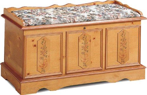Coaster Cedar Wood Chest, Pine Finish with Hand Painted Floral Accents and Cushioned Pad