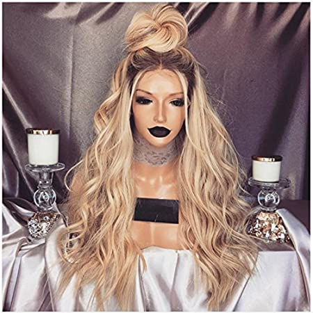 DLME 180 Density Glueless Wavy Wig 24Inch Synthetic Ombre Honey Blonde Lace Front Wigs for Women Heat Resistant (24)