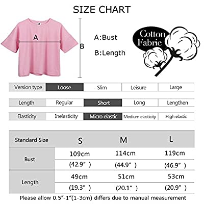 YITAN Women's Fashion Funny Tees Graphic Loose T shirt Cute Relaxed Split Crop Top