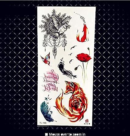 MRKAL 3D pequeño Tatuaje Temporal Flor de la Pluma Impermeable ...