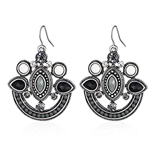 Bohemian Style Beads and Crystal Drop Earrings Black Grey and White for Women